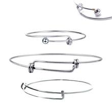 944d7eb38098 Unids 10 piezas de alambre de moda cobre acero inoxidable Metal extensible  pulsera Base ajustable en blanco brazalete DIY pulser.