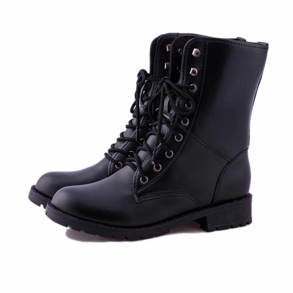 9b9d4ed07 ... CAGACE 2018 botas de mujer de marca con cordones botas planas de combate  para motociclista botas ...