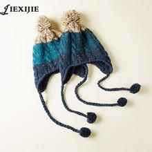 Automne hiver Pur main-fait tissé unisexe tricoté chapeau laine oreilles de fil chapeau enfant chapeau enfants ski gorros cap