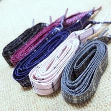 цены 1Pair British Style Plaid Shoelaces Cotton And Linen Sneaker Sports Casuals Shoes Lace Length 60/80/100cm For Men Women Shoelace