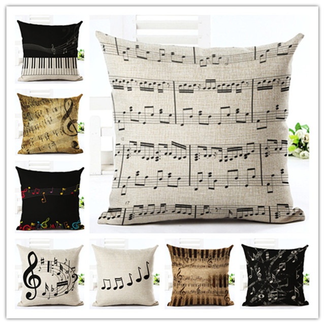 piano notes cotton linen cushion cover decorative pillowcase use for home sofa car office almofadas cojines