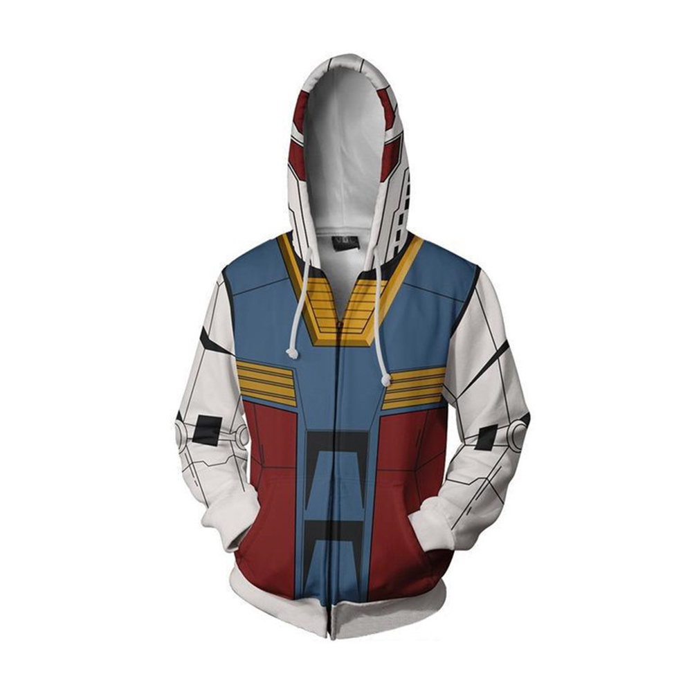 Fashion Hoodies GUNDAM 3D Printed Sweatshirt Man Woman Zipper Jacket Adults Long Sleeve Hooded Coat Hip Hop Streetwear