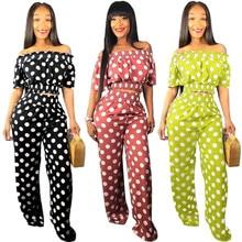 Casual Pants Dot Print OL Style Full Length Straight Pants Pullover Slash-neck Short Sleeve Crop