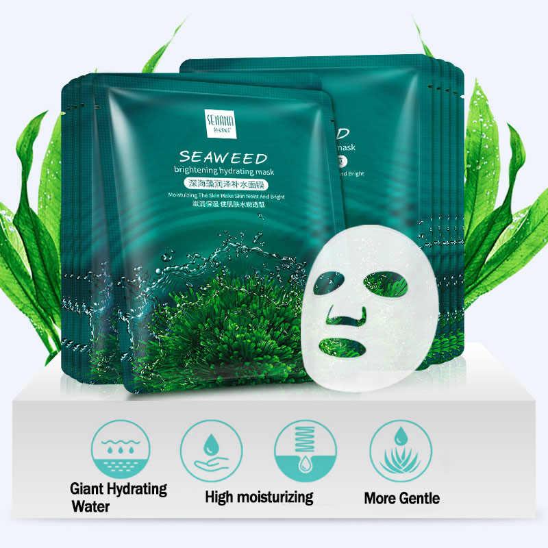 Rumput Laut Brightening Hydrating Kulit Perawatan Minyak Kontrol Masker Whitening Shrink Pori Anti Aging Anti Kerut Pelembab Facial Mask