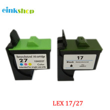 Free shipping For Lexmark 17 Black & 27 Color ink Cartridge LM 17 27 for Lexmark Z25 Z33 Z35 Z515 Z601 Z605 Z611 printer powder for ibm infoprint 1872 n for lexmark x658dtfe for lexmark t652 dn color printer powder free shipping