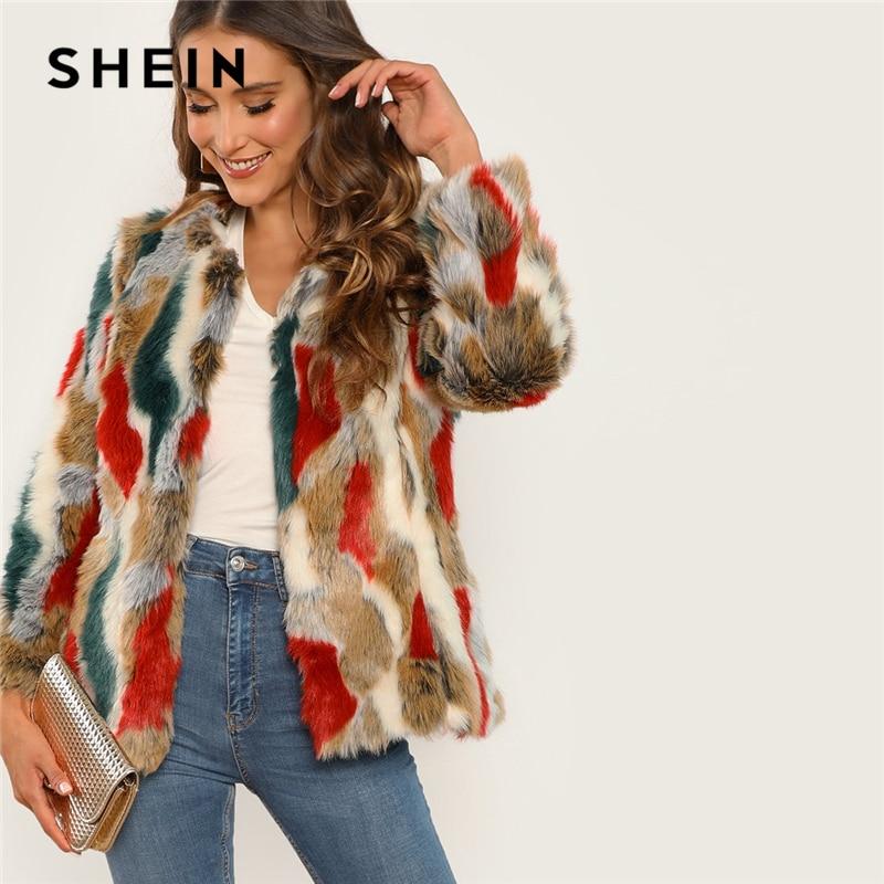 Plein Femmes Shein Manteau De Vêtements Hiver Multicolore Highstreet Pwk80On