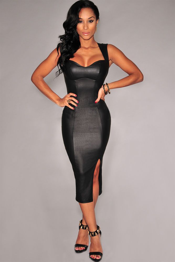 Images of Strapless Midi Bodycon Dress - Reikian