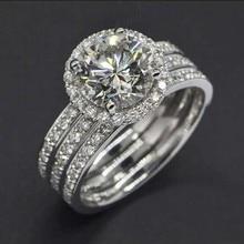 Victoria Wieck corte redondo 6 mm topacio simuló diamantes de 10KT oro blanco lleno nupcial contratación venda de boda Ring Set Sz 5-11