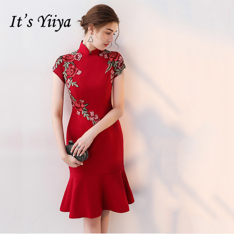 It's Yiiya Honorable Embroidry Short Sleeves   Cocktail     Dresses   Red Vintage Knee-Length   Dress   LX386