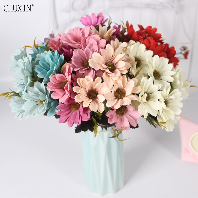 Silk 5 Fork Small Daisy Flower European Style Autumn 7 Color Simulation Artificial Bouquet Wedding Decoration Home Office In Dried