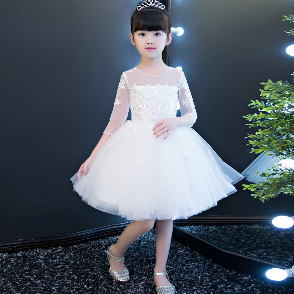2017 New High Quality Girls Babies White Color Lace Princess Party Dress Wedding Birthday Costume Ball Gown Dress For Children new high quality children girls blue princess lace party dress wedding birthday dress with layers mesh tail kids costume dress