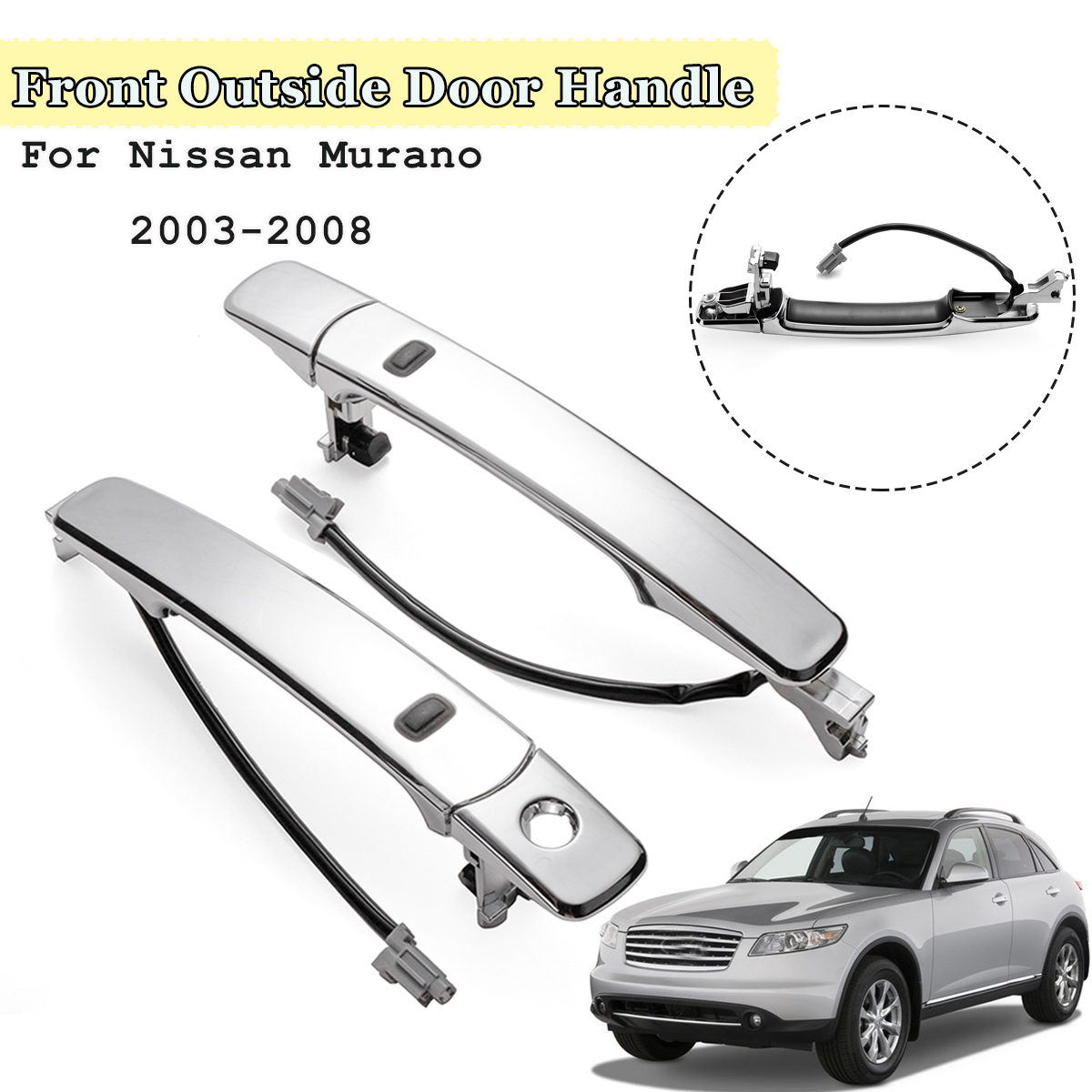 1pc front left right outside door handle smart entry for nissan murano 2003 2004 2005 2008 [ 1200 x 1200 Pixel ]