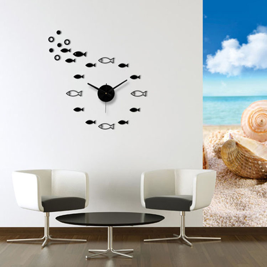 Mute Simple Creative Fish Wall Clock Living Room Modern Sticker ...