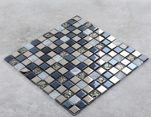 Auqa blu argento tessere di mosaico di vetro backsplash cucina