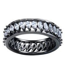 New Arrival Top Quality Round Circle Black Finger Rings Wholesale Vintage White Cz Wedding Engagement Ring For Women