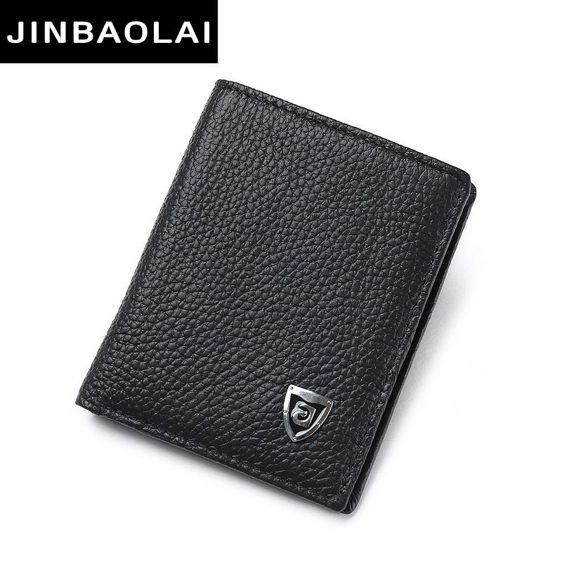 JINBAOLAI wallet men famous brand Mini genuine leather wallets casual ID card holder short design thin male wallets gift for men male leather casual short design wallet card holder pocket