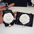 Moda Camellia Flor Genuína Chave Do Carro de Couro Carteiras Das Mulheres Titulares Governanta Chaveiro Carro Chave Zipper Saco Caso Bolsa