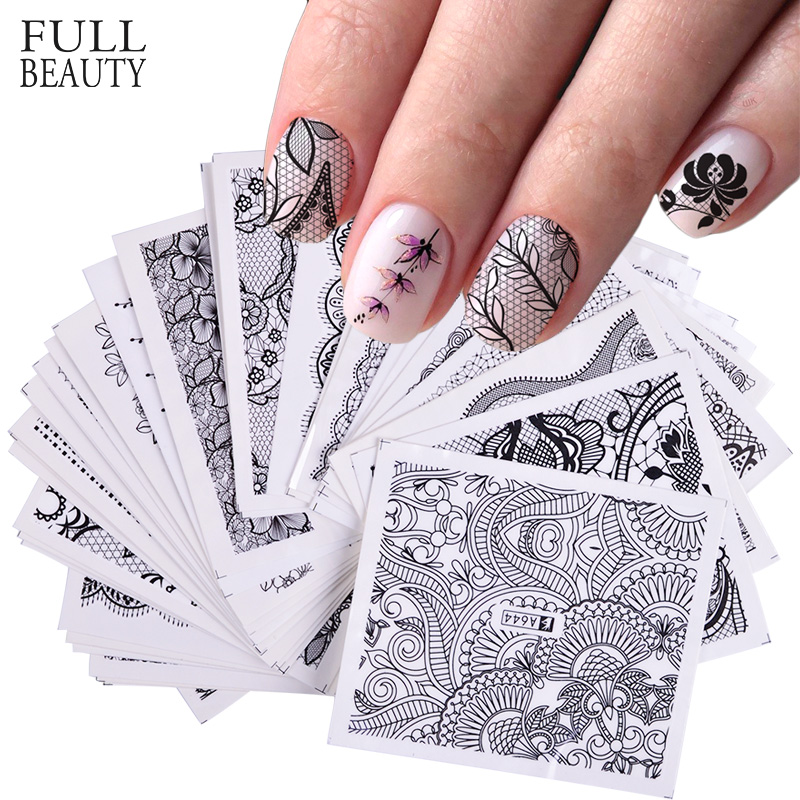 40pcs Black Lace Flower Vine Nail Art Sticker Set Water Transfer Decal French Tips Slider Decoration Manicure Foils CHA625-672