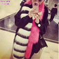 Chic Striped Pachwrok Faux Fox Fur Long Scarf 2015 Black wither Contrast hot pink Double Side Hairy Shaggy Scarves Shawl
