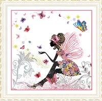 Handmade Cross Stitch 5d Diy Diamond Painting Butterfly Girl Diamond Mosaic Home Bedroom Living Room Decoration
