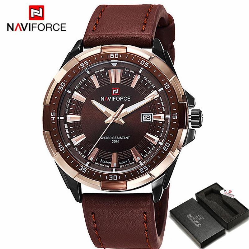 Prix pour 2017 naviforce marque hommes de mode casual sport montres hommes étanche en cuir quartz montre homme militaire horloge relogio masculino