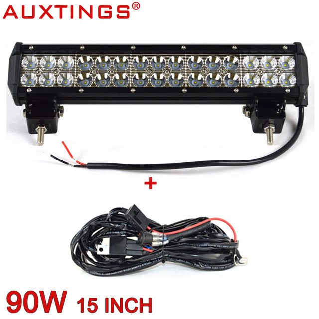 Auxtings 15 inch 90w dual rows combo beam ip67 truck waterproof led auxtings 15 inch 90w dual rows combo beam ip67 truck waterproof led light bar with wiring aloadofball Gallery