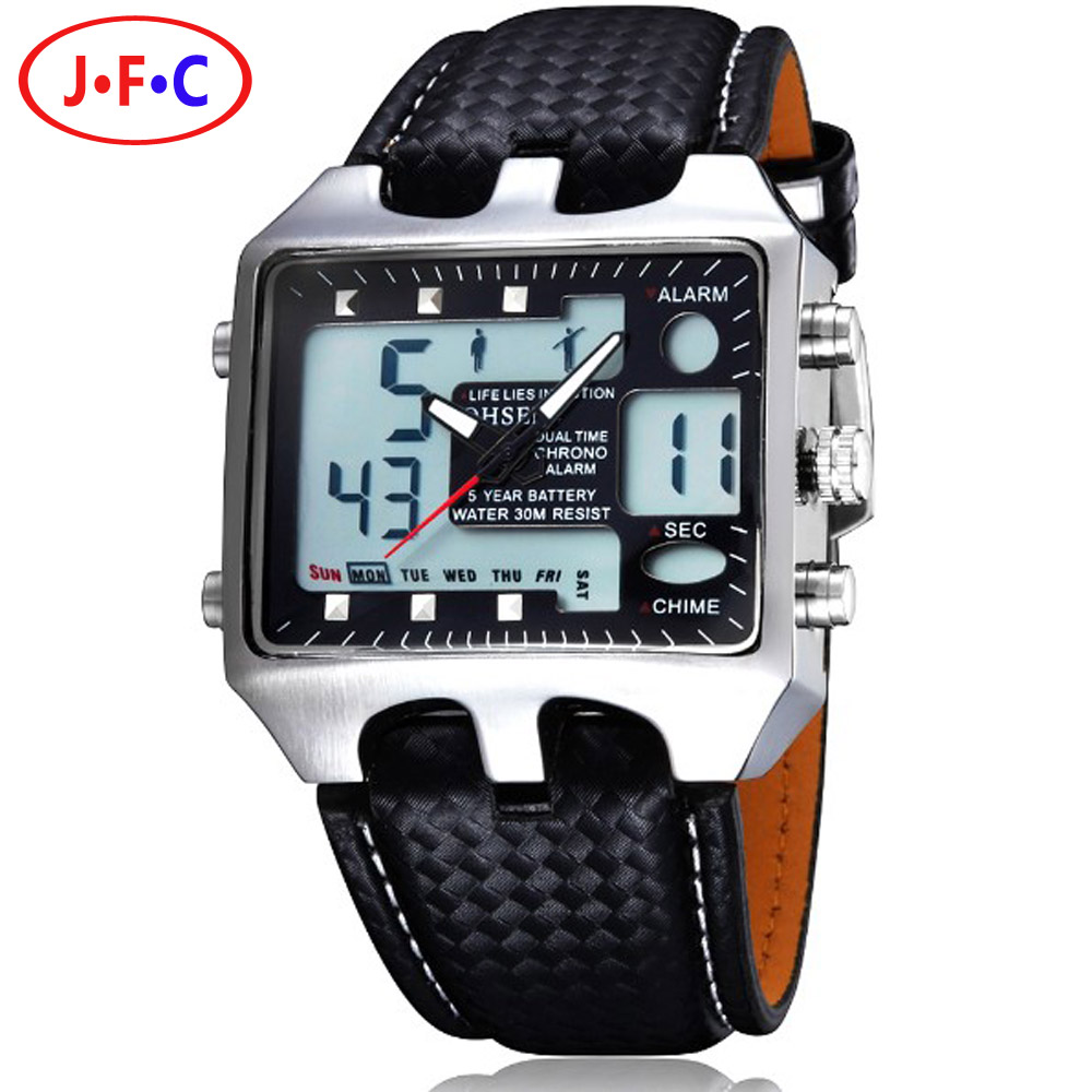 Hot OHSEN AD0930 Men Sports Watches Analog Digital Quartz 3ATM Waterproof Dive Fashion Military Watch Relogio
