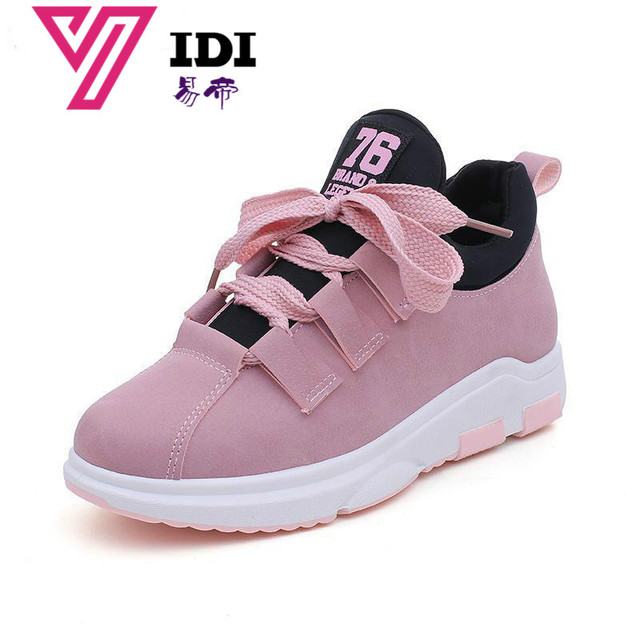 YIDI Spring New Designer Wedges Pink Platform Sneakers Women Shoes 2018  Tenis Feminino Casual Female Shoes Woman Basket Femme 09289028b886