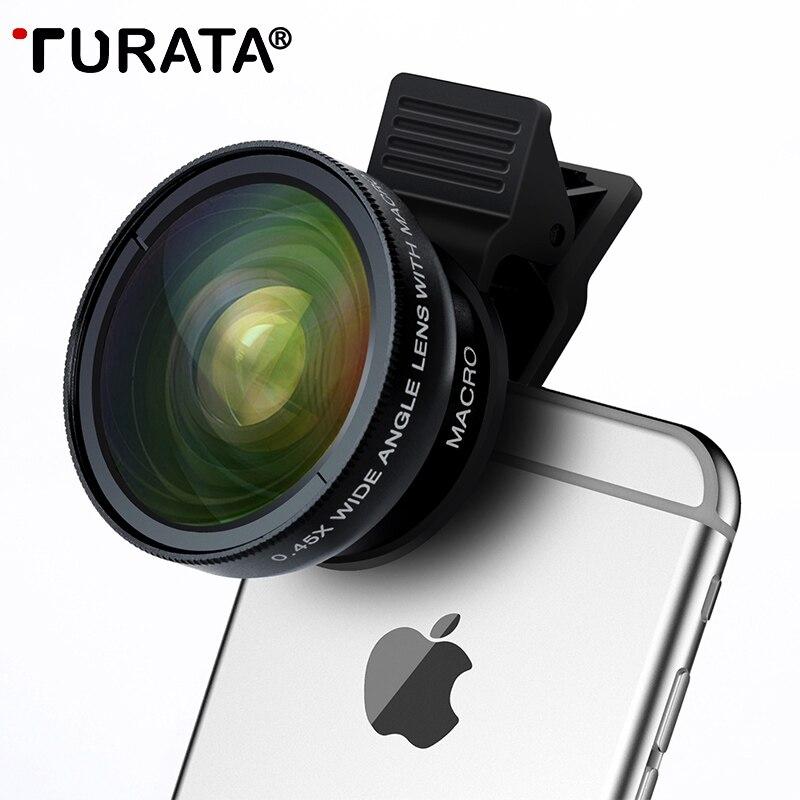 TURATA lente de ojo de pez 2 en 1 profesional HD teléfono Cámara lente Kit 0.45X gran angular + 12.5X Macro Clip- en ojo de pez para Smartphone