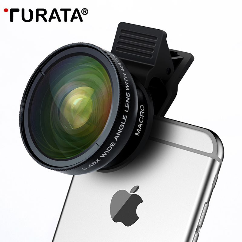 Turata pez 2 en 1 profesional HD teléfono Objetivos para cámaras kit 0.45x gran angular + 12.5x macro Clip-on ojo de pez para Smartphone