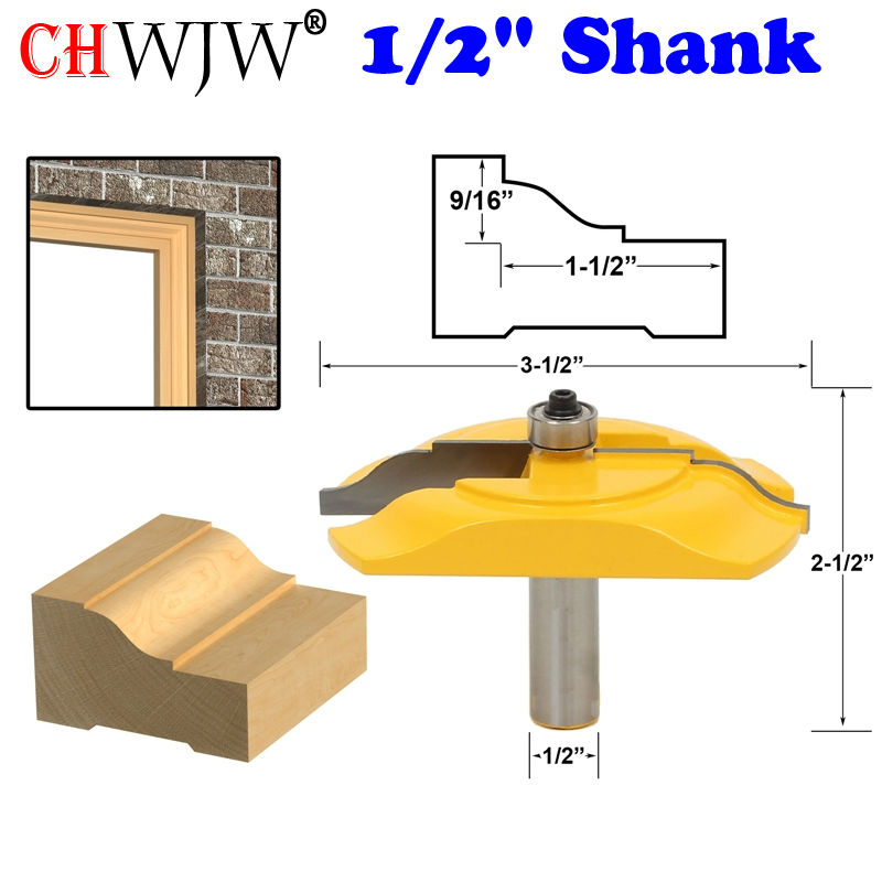 1Pc Brick Mold & Exterior Casing Router Bit - 1/2 Shank  Line knife Woodworking cutter Tenon Cutter for Woodworking Tools high grade carbide alloy 1 2 shank 2 1 4 dia bottom cleaning router bit woodworking milling cutter for mdf wood 55mm mayitr