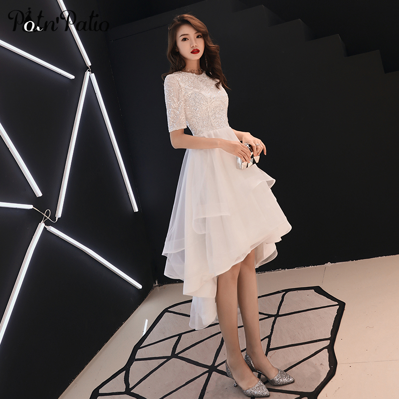 White Graduation Dresses With Short Sleeves Plus Size Elegant O-neck Sequined Tulle Princess High Low Prom Dresses 2019