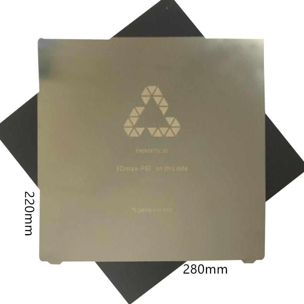 ENERGETISCHE Neue 220x280mm Flex Frühling Stahl Blatt Wärme Bett mit angewendet PEI Bauen Oberfläche + Magnetische Aufkleber für Tevo Tarantula