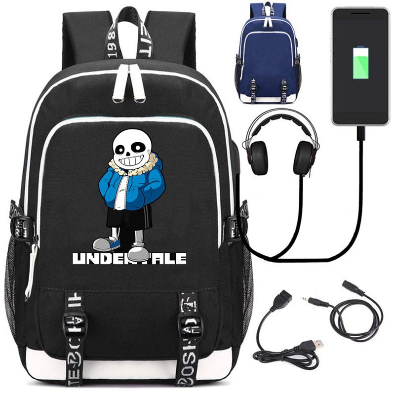 все цены на New Anime Undertale School Backpack USB Charge Interface Travel Laptop Shoulder Bag Cosplay Men Women Gamer Fans Backpacks Gift