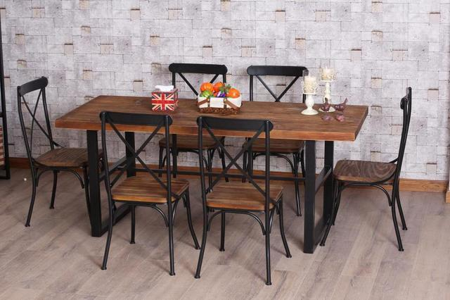 American Retro Dinette Combination Of Wood Wrought Iron Dining