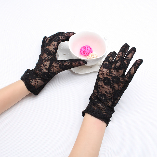 M MISM Elegant Lace Female Gloves For Party Sexy Lady Women Girl's Grid Yard Sunscreen Women's Mittens Accessories Femme