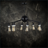 LOFT Industrial Heavy Black Iron Chandelier Lamp Four Chandelier Cafe Hall Dedicated Chandelier In Foreign Trade
