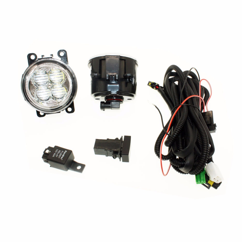 For Ford C-Max Fusion 13-14 H11 Wiring Harness Sockets Wire Connector Switch + 2 Fog Lights DRL Front Bumper 5D Lens LED Lamp for renault logan saloon ls h11 wiring harness sockets wire connector switch 2 fog lights drl front bumper 5d lens led lamp