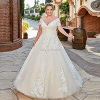 V Neck Lace Plus Size Wedding Dresses Cap Sleeves Applique Tulle Bridal Wedding Gown Lace Up Bride Dress Luxury Vestido De Noiva