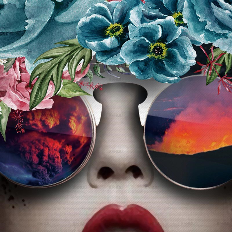 poster face girl with sunglasses and flowers