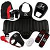 Free Combat Sanda Full Set 8pcs Protective Guards Sport Shin Guard Helmet Headgear Groin Guard Chest