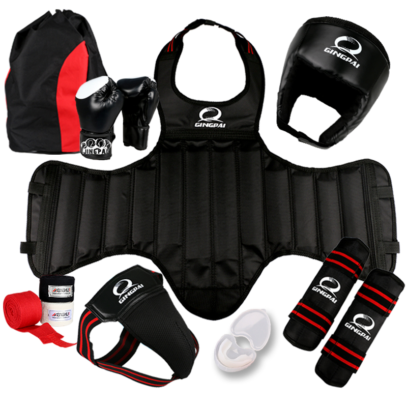 Free combat Sanda full set 8pcs protective guards sport shin guard helmet headgear groin guard chest guard boxing gloves bandage taekwondo protective gear set wtf hand chest protector foot shin arm groin guard helmet 8pcs children adult taekwondo karate set