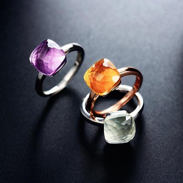 Top Qualität Pomell Königin Ring Mode Multi-Faceted Mehrfarbige Quadratische Kristall Süßigkeiten Ring für Frauen Marke Schmuck