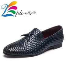 Braid Men leather Shoes Casual Tassel Weave Men Loafers Slip On Dress Shoes Men Luxury Brand Moccasins Men Flats Big Size 37-48 цены онлайн