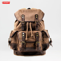 Travel Men's Backpack Shoulder Bag Canvas Fight Leather Men Large Capacity Waterproof Backpacks Multi function Military Retro