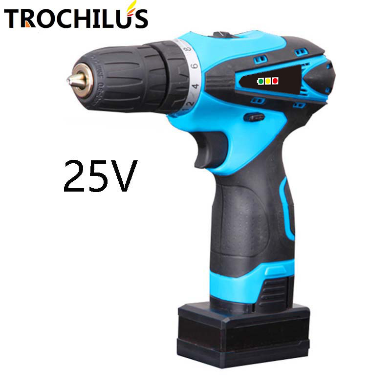 25V cordless electric drill multi - function electric tool screwdriver with lithium battery mini miniature electric drill 25v cordless electric screwdriver