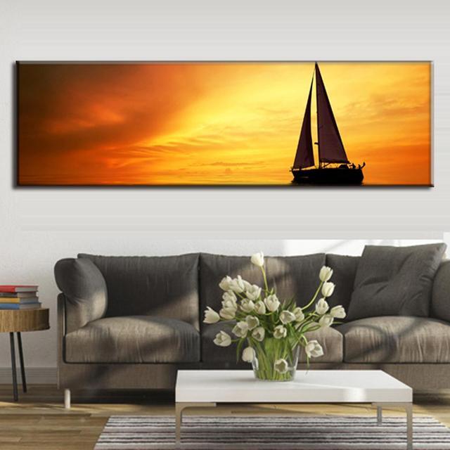 US $20.99 30% OFF|Super Große Einzel Malerei Leinwand für Wohnzimmer  Dekorative Die Sonnenuntergang Meer von Galeone Goldene Leinwand Malerei  Hotel ...