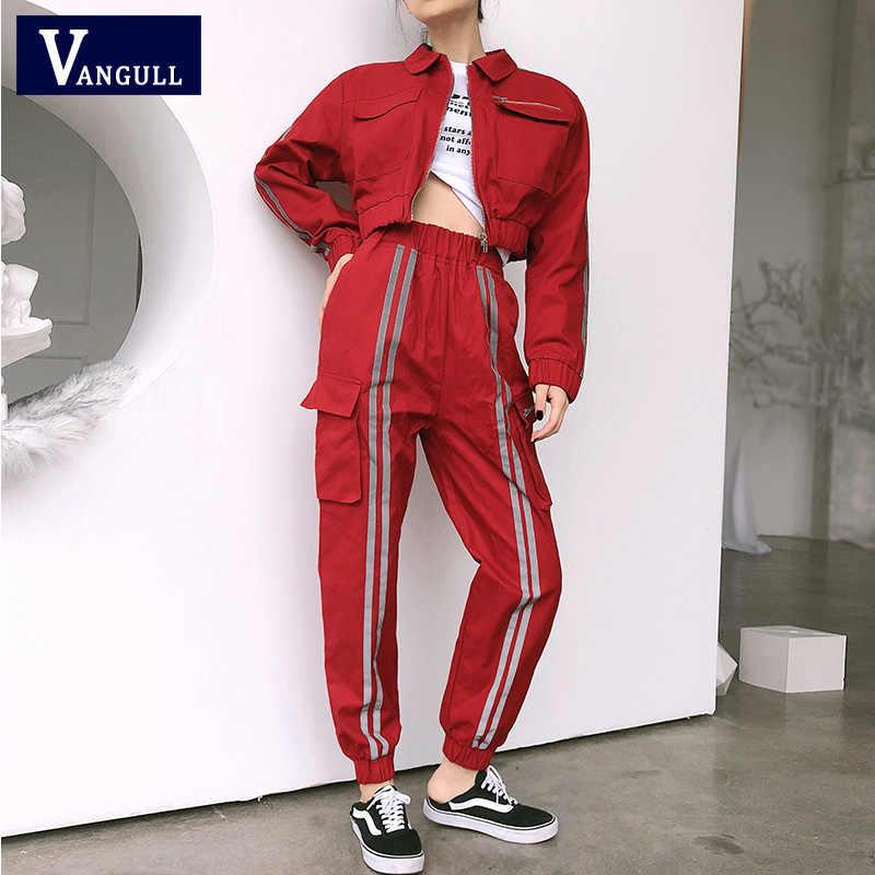 Conjunto de dos piezas Vangull para mujer Crop Top y pantalones Cargo conjunto de 2 piezas chaqueta de bombardero Joggers traje de mujer brillante lado de conjuntos