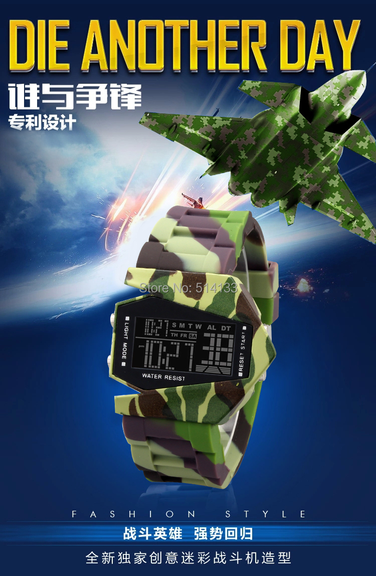 New 2016 Recent Stealth plane Aircraft bomber Shape Sports LED Digital Date Chronograph Wrist Watch Camouflage military watches stealth bomber electric bike sweden 72v 18ah lifepo4 65a