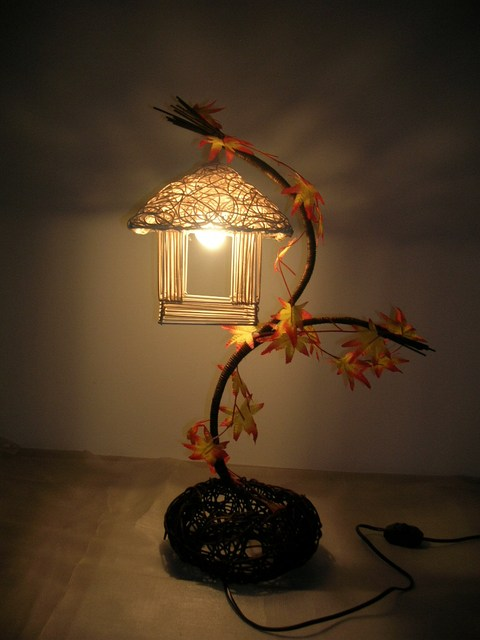 Rattan table lamp bedside lighting bedroom lamp decorative ...